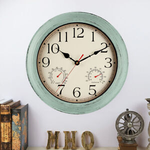 Retro Indoor/Outdoor Waterproof Wall Clock with Thermometer and Hygrometer Combo