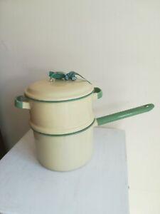 Enamel double boiler pan cream and green Vintage Original Sweden