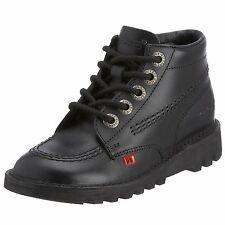 Kickers Unisexe Enfants's Kick Hi J CORE NOIR Chaussures Cuir Taille UK 1 Eur 33 Entièrement neuf dans sa boîte