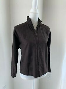 Eileen Fisher Dark Brown Textured Zip Front Nylon & Viscose Jacket SZ PS S