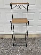 Longaberger Wrought Iron Bakers Basket Rack with 2 Woodcraft Shelves