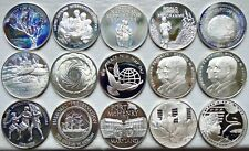 LOT OF 15 STERLING SILVER PROOF MEDAL ROUNDS 12.4 TROY OZ
