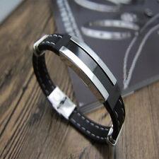 Cool Herren Armspange schwarz geflochten PU Lederarmband aus Titan und Edelstahl