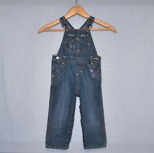 OshKosh B'gosh Baby Girls Blue Denim Overalls Size 24 Months Hearts & Flowers