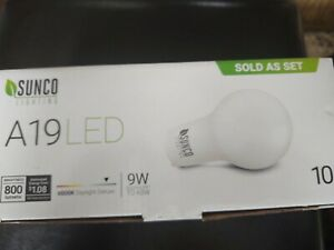 Sunco Lighting 10 Pack A19 LED Bulb, 9W=60W CFL Replacement