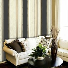 NEW Black / Gold  Glitter- M0909 -Synergy Stripe Textured Vymura Wallpaper