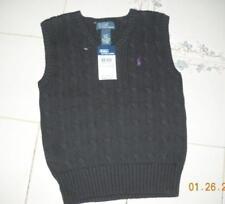 New Polo Ralph Lauren Boys Black Sweater Vest 4 4T Purple Pony Cable Knit