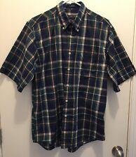 Cambridge Classic Mens Easy Care Short Sleeve Shirt Navy & Green Plaid Medium