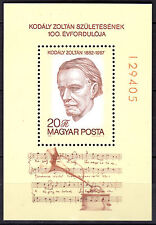 HUNGARY MAGYAR 1982 Music-Zoltan Kodaly, Composer, Souvenir Sheet MNH-FREE SHIP