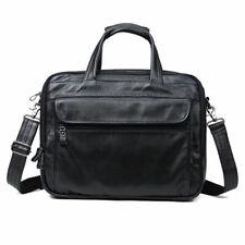 Herren Leder Aktentasche 15'' Laptop Messenger Umhängetasche Schultasche