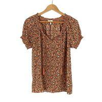 Joie Women's Size Medium Orange Pineapple Print Masha Silk Tassel Boho Blouse