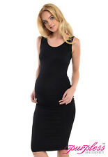 Purpless Maternity Sleeveless Jersey Ruched Pregnancy Midi Dress Dresses D8130 Black UK 8