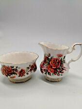 Vintage Royal Albert Bone China, Centennial Rose Creamer And Open Sugar Bowl