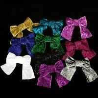 """3""""  Sparkle Hair Metallic Ribbon Bows With Tails -approx 75mm wide x 4 Bows"""