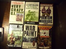 Mixed Lot Six Vietnam War Books Snipers~Lrp Rangers Lrrps~Crazy Gi'S Stories