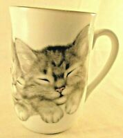 Otagiri Coffee Tea Mug Gray Kittens Sleeping Jonah's Workshop Artist V Miller