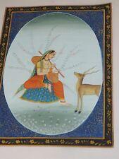 "India Hindu Miniature painting Shiva Radha and deer on silk 8.5 x 11"""