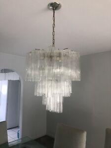 Large Venini Murano Tronchi Glass Tube Chandelier  70s MCM - AWESOME LIGHT !!