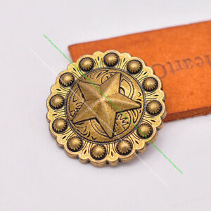 10X Sturdy Retro Brass Texas Star Berry Leathercraft Saddle Bridle Belt Concho