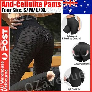 Women High Waist TikTok Leggings Ruched Anti-Cellulite Yoga Pants Gym Fitness AU