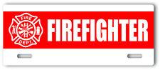 Firefighter License Plate Topper stripe aluminum novelty fire department sign