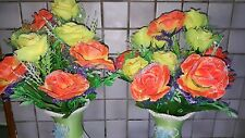 2 Sets Silk Artificial Mixed Colour Rose Flowers & Vases table Decorations