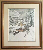 "Luigi Kasimir Etching ""Heiligenblut Austria"", 25"" x 29""  Framed, EUC"
