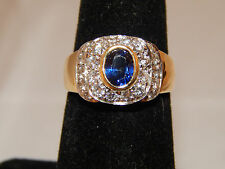 2.29 tcw 18k Top Quality E/VS Diamond Kashmir Sapphire Wide Halo Engagement Ring