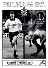 Fulham v Portsmouth programme, Friendly, August 1991