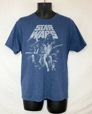 Star Wars Men's Blue Heather SS T-Shirt! Crew Neck. Original Cast Graphic. Sz L