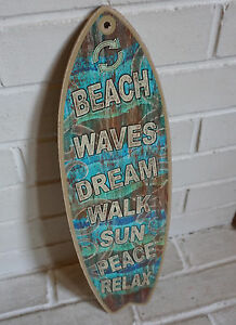 TEAL BLUE WOOD SURFBOARD SIGN Tropical Island Coastal Beach Surfing Home Decor