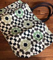 Awesome LuLu Dharma Large Canvas Tote Bag Green Brown Side Pocket Inside Pocket