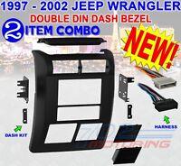 JEEP WRANGLER + TJ 1997 & 2002 DOUBLE DIN DASH BEZEL RADIO STEREO MOUNTING KIT