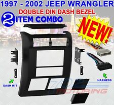 JEEP WRANGLER + TJ 1997 - 2002 DOUBLE DIN DASH BEZEL RADIO STEREO MOUNTING KIT
