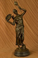 Hand Made bronze sculpture Player Banjo Mandolin Lady Austrian Cast Hot UG