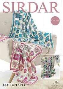 Sirdar Cotton 4 ply Crochet Blankets 7821
