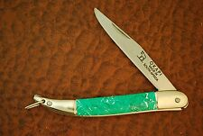VINTAGE OKAPI MADE IN SOUTH AFRICA GREEN JUMBO TOOTHPICK FISH KNIFE CARBON STEEL