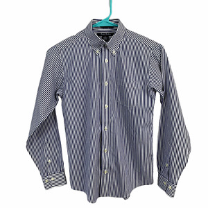 Brooks Brothers Boys Fleece Blu White Striped Long Sleeve Button Front Shirt 12
