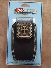 NOCONA BROWN LEATHER CELL PHONE CASE WITH CROSS AND BLING
