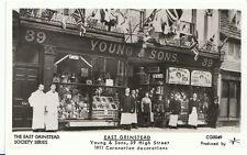 Sussex Postcard - East Grinstead - Young & Sons 1911 Coronation Decorations 2050