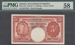 Goverment of Jamaica 5 Shillings P-37b ND(1953-58)  PMG 58 AUNC