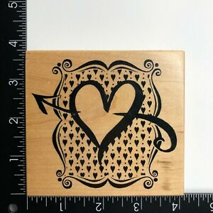 PSX Designs Montage Collection Heart with Arrow K3111 Wood Mounted Rubber Stamp