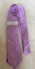 MICHAEL KORS 100% Silk Pink With Stripes Neck Tie Classic Style