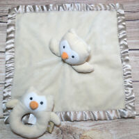 Limited Edition Target Owl Security Blanket Lovey Tan Satin Trim Baby Rattle Set