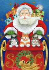 ACEO original miniature art painting Santa sleigh Christmas animals cat cardinal