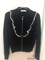 New! Sandro Paris Wool Blend Cardigan/sweater With Frills. Size:1 Black