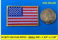 "SMALL USA AMERICAN FLAG EMBROIDERED PATCH IRON-ON SEW-ON GOLD BORDER 1¾"" x 1⅛"""
