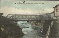 St. Regis Falls NY Bridge c1910 Postcard