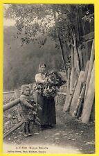cpa rare Cachet MONTHEY SUISSE Agricultrice Fermières BONNE RÉCOLTE Champ Choux