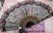 "19"" Our Lady of Grace Religious Fabric and Plastic Fan - NEW"